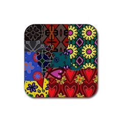 Digitally Created Abstract Patchwork Collage Pattern Rubber Square Coaster (4 Pack)