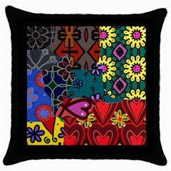 Digitally Created Abstract Patchwork Collage Pattern Throw Pillow Case (Black)