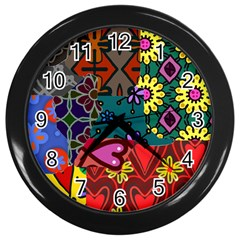 Digitally Created Abstract Patchwork Collage Pattern Wall Clocks (Black)