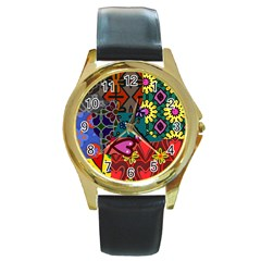 Digitally Created Abstract Patchwork Collage Pattern Round Gold Metal Watch