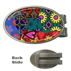 Digitally Created Abstract Patchwork Collage Pattern Money Clips (Oval)
