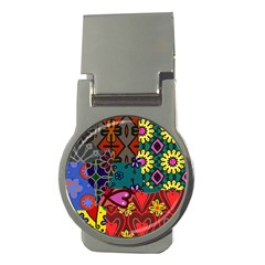 Digitally Created Abstract Patchwork Collage Pattern Money Clips (round)