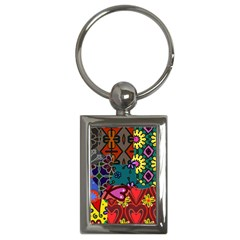 Digitally Created Abstract Patchwork Collage Pattern Key Chains (rectangle)