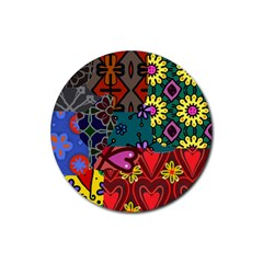 Digitally Created Abstract Patchwork Collage Pattern Rubber Round Coaster (4 Pack)