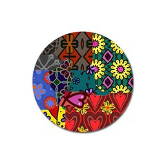 Digitally Created Abstract Patchwork Collage Pattern Magnet 3  (Round)