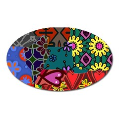 Digitally Created Abstract Patchwork Collage Pattern Oval Magnet