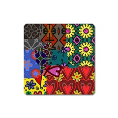 Digitally Created Abstract Patchwork Collage Pattern Square Magnet