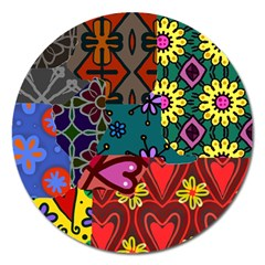 Digitally Created Abstract Patchwork Collage Pattern Magnet 5  (round)