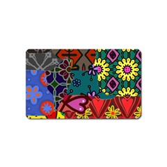 Digitally Created Abstract Patchwork Collage Pattern Magnet (name Card)
