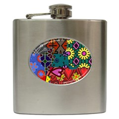 Digitally Created Abstract Patchwork Collage Pattern Hip Flask (6 oz)