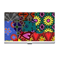 Digitally Created Abstract Patchwork Collage Pattern Business Card Holders