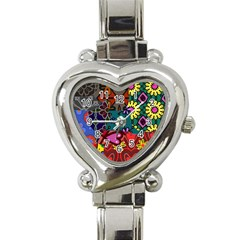 Digitally Created Abstract Patchwork Collage Pattern Heart Italian Charm Watch