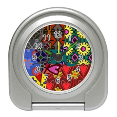 Digitally Created Abstract Patchwork Collage Pattern Travel Alarm Clocks