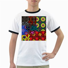 Digitally Created Abstract Patchwork Collage Pattern Ringer T-Shirts