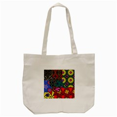 Digitally Created Abstract Patchwork Collage Pattern Tote Bag (Cream)