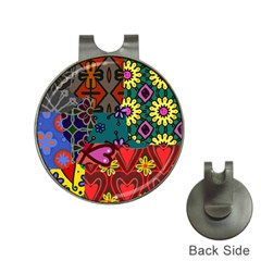 Digitally Created Abstract Patchwork Collage Pattern Hat Clips With Golf Markers