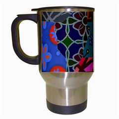 Digitally Created Abstract Patchwork Collage Pattern Travel Mugs (white)