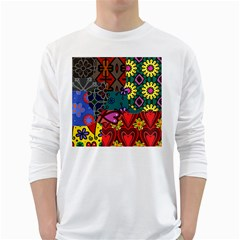 Digitally Created Abstract Patchwork Collage Pattern White Long Sleeve T-Shirts