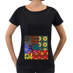 Digitally Created Abstract Patchwork Collage Pattern Women s Loose Fit T Shirt (black)
