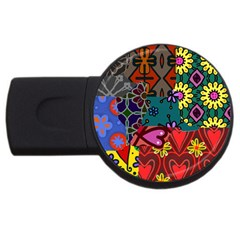 Digitally Created Abstract Patchwork Collage Pattern Usb Flash Drive Round (4 Gb)