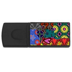Digitally Created Abstract Patchwork Collage Pattern Usb Flash Drive Rectangular (4 Gb)