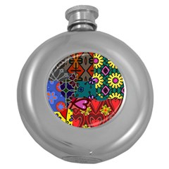 Digitally Created Abstract Patchwork Collage Pattern Round Hip Flask (5 Oz)