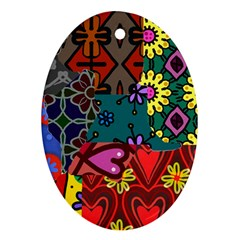 Digitally Created Abstract Patchwork Collage Pattern Oval Ornament (two Sides)