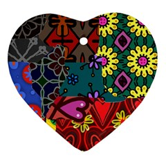 Digitally Created Abstract Patchwork Collage Pattern Heart Ornament (two Sides)