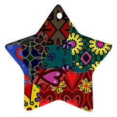 Digitally Created Abstract Patchwork Collage Pattern Star Ornament (two Sides)