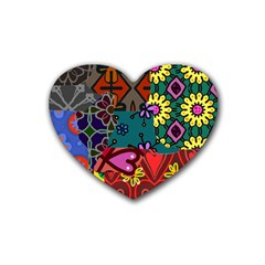 Digitally Created Abstract Patchwork Collage Pattern Rubber Coaster (Heart)