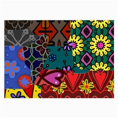 Digitally Created Abstract Patchwork Collage Pattern Large Glasses Cloth