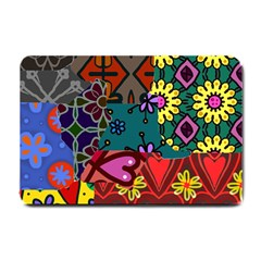 Digitally Created Abstract Patchwork Collage Pattern Small Doormat