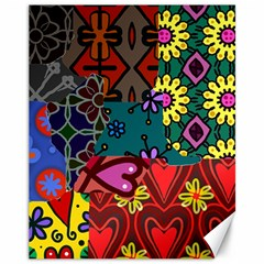 Digitally Created Abstract Patchwork Collage Pattern Canvas 11  x 14