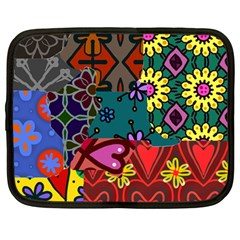 Digitally Created Abstract Patchwork Collage Pattern Netbook Case (large)