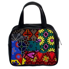 Digitally Created Abstract Patchwork Collage Pattern Classic Handbags (2 Sides)