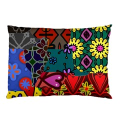Digitally Created Abstract Patchwork Collage Pattern Pillow Case
