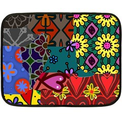 Digitally Created Abstract Patchwork Collage Pattern Double Sided Fleece Blanket (Mini)
