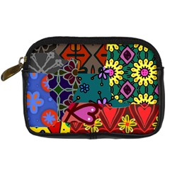 Digitally Created Abstract Patchwork Collage Pattern Digital Camera Cases