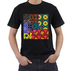 Digitally Created Abstract Patchwork Collage Pattern Men s T-Shirt (Black)