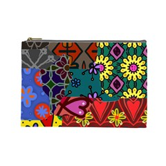 Digitally Created Abstract Patchwork Collage Pattern Cosmetic Bag (large)