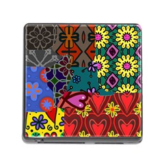 Digitally Created Abstract Patchwork Collage Pattern Memory Card Reader (square)