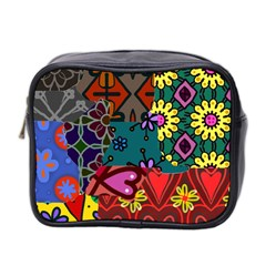 Digitally Created Abstract Patchwork Collage Pattern Mini Toiletries Bag 2 Side