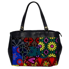 Digitally Created Abstract Patchwork Collage Pattern Office Handbags