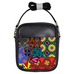 Digitally Created Abstract Patchwork Collage Pattern Girls Sling Bags
