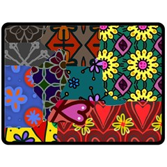 Digitally Created Abstract Patchwork Collage Pattern Fleece Blanket (large)