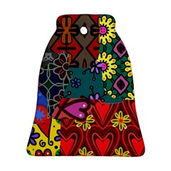 Digitally Created Abstract Patchwork Collage Pattern Bell Ornament (two Sides)