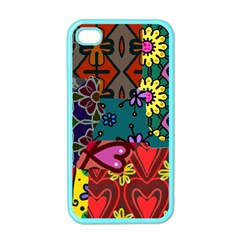 Digitally Created Abstract Patchwork Collage Pattern Apple iPhone 4 Case (Color)