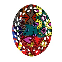Digitally Created Abstract Patchwork Collage Pattern Ornament (oval Filigree)