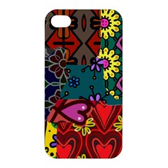Digitally Created Abstract Patchwork Collage Pattern Apple iPhone 4/4S Hardshell Case