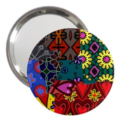 Digitally Created Abstract Patchwork Collage Pattern 3  Handbag Mirrors